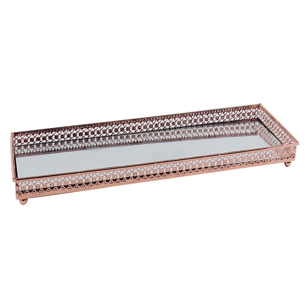 Bandeja Retangular Espelhada Decorativa Luxo Cobre 30x12cm Kv0135