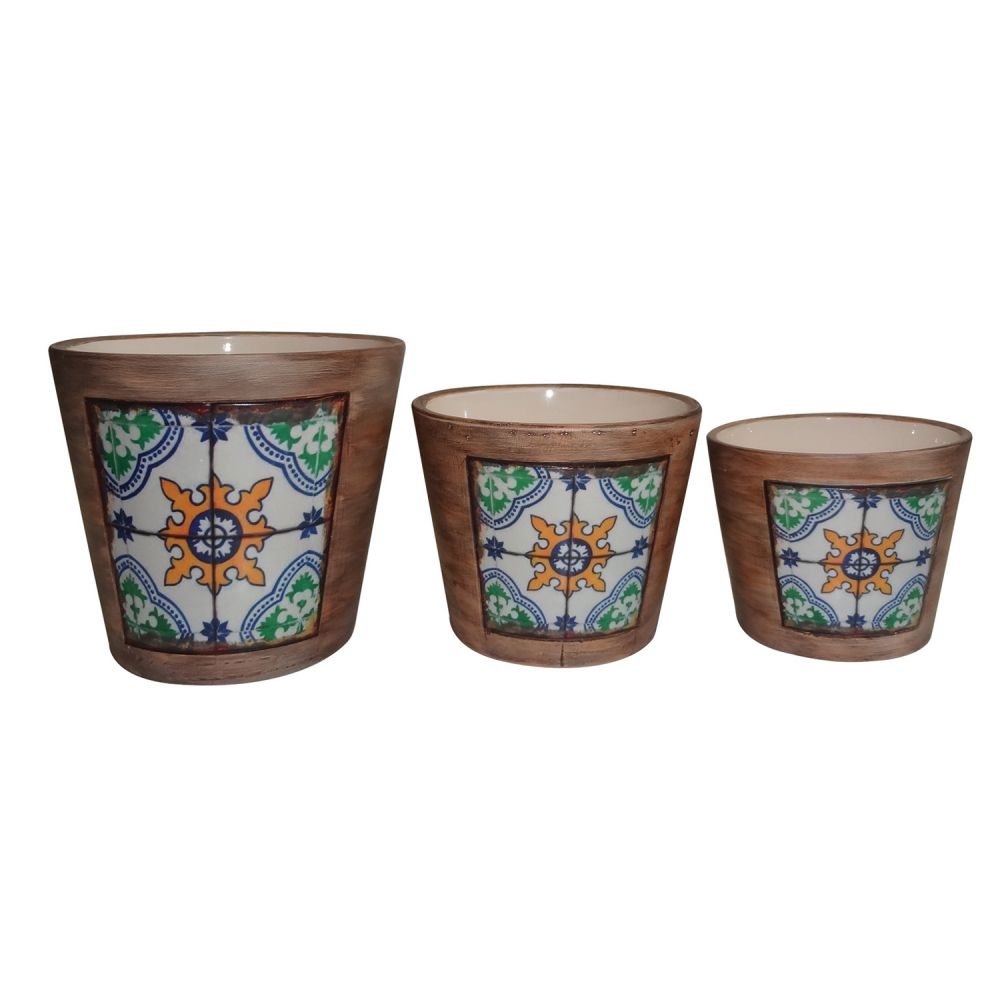 Cachepot Cerâmica Decorativo Kit 3 Peças Estilo Portugues - TN0113