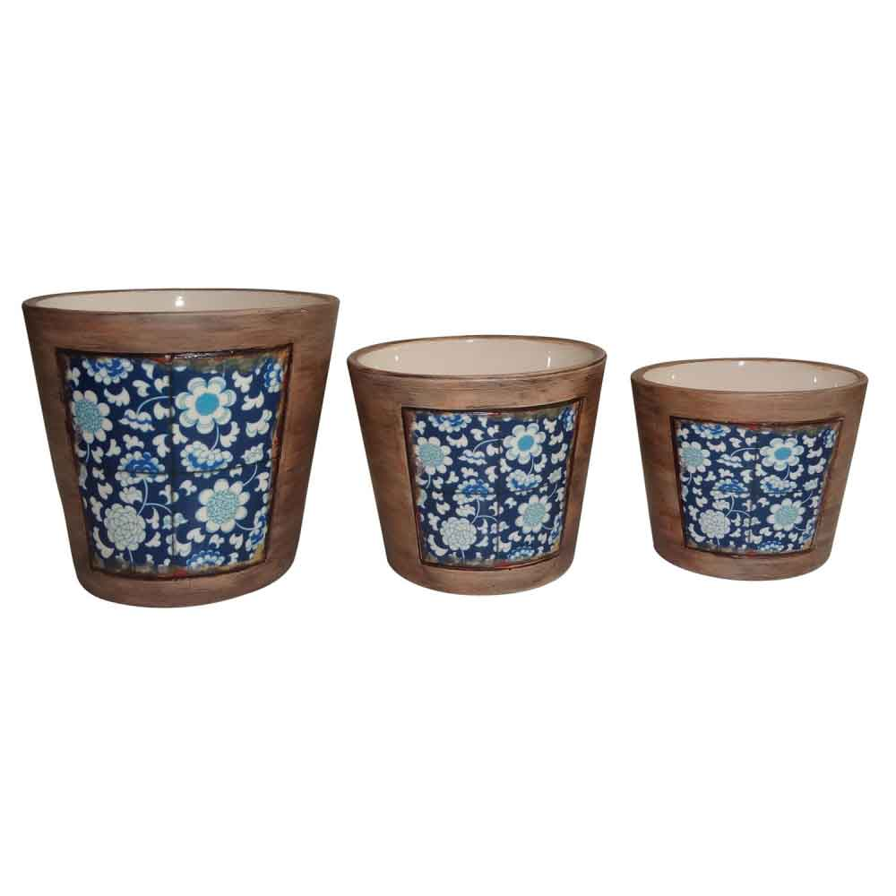 Cachepot Cerâmica Decorativo Kit 3 Peças Estilo Portugues - TN0122