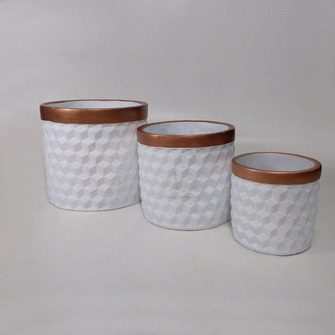 Cachepot Cimento Decorativo Branco Kit 3 Peças 8575
