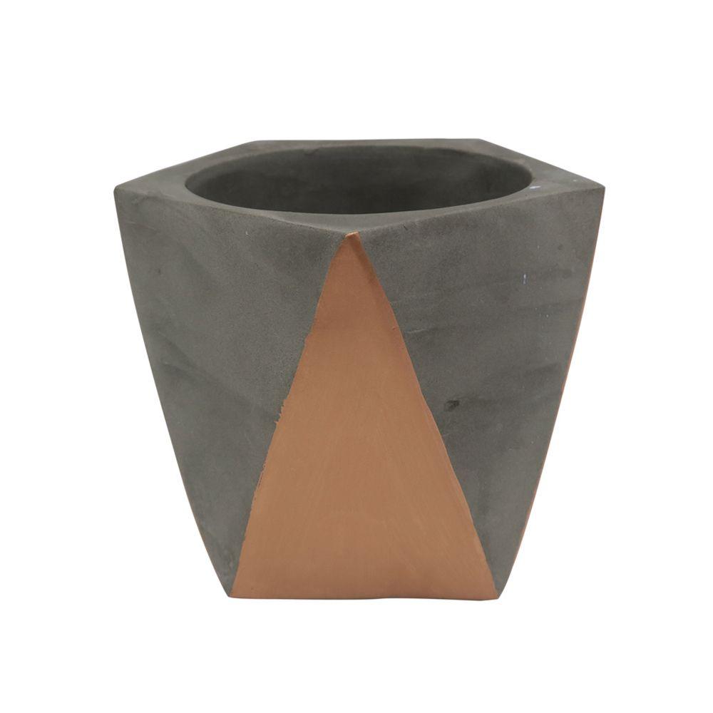 Cachepot Decorativo Cimento Cinza e Cobre 10x13CM GV0034