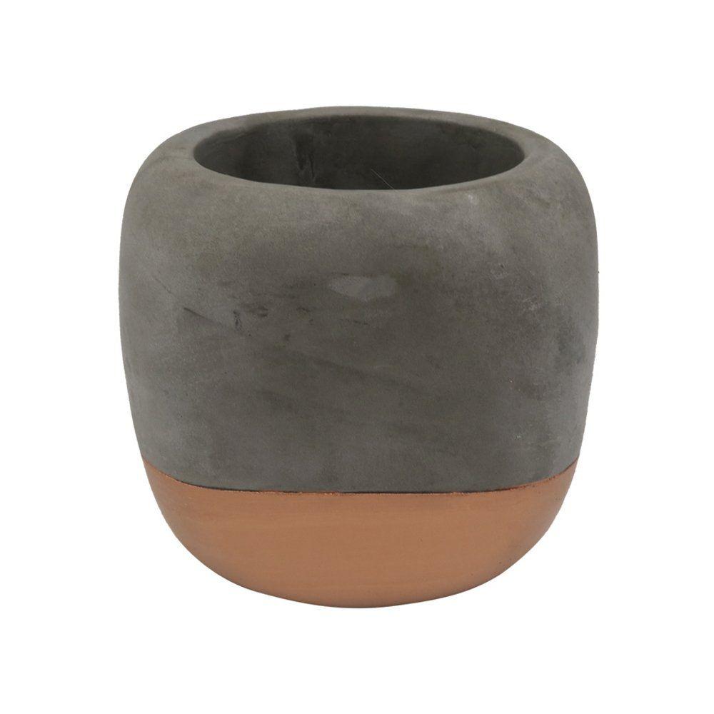 Cachepot Decorativo Cimento Cinza e Cobre 11,5X11CM GV0030