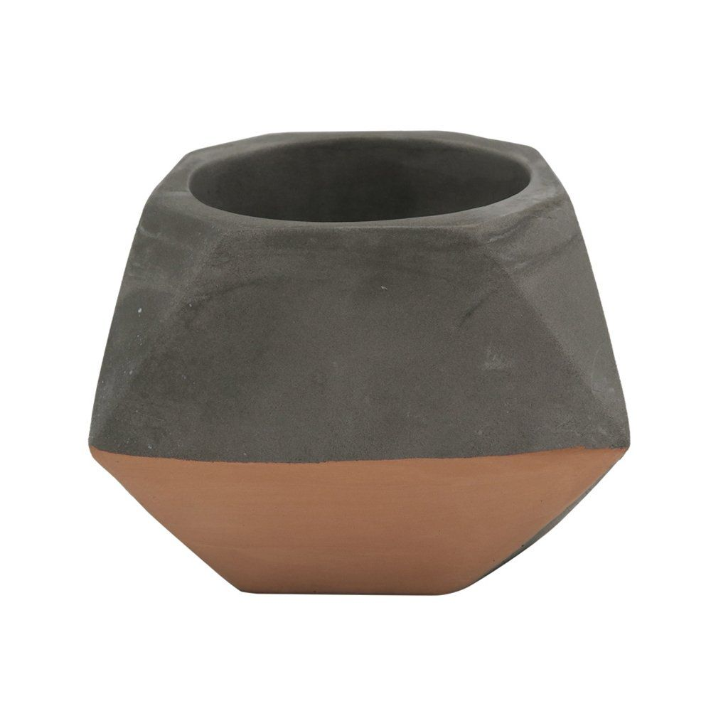 Cachepot Decorativo Cimento Cinza e Cobre 11x8CM GV0038