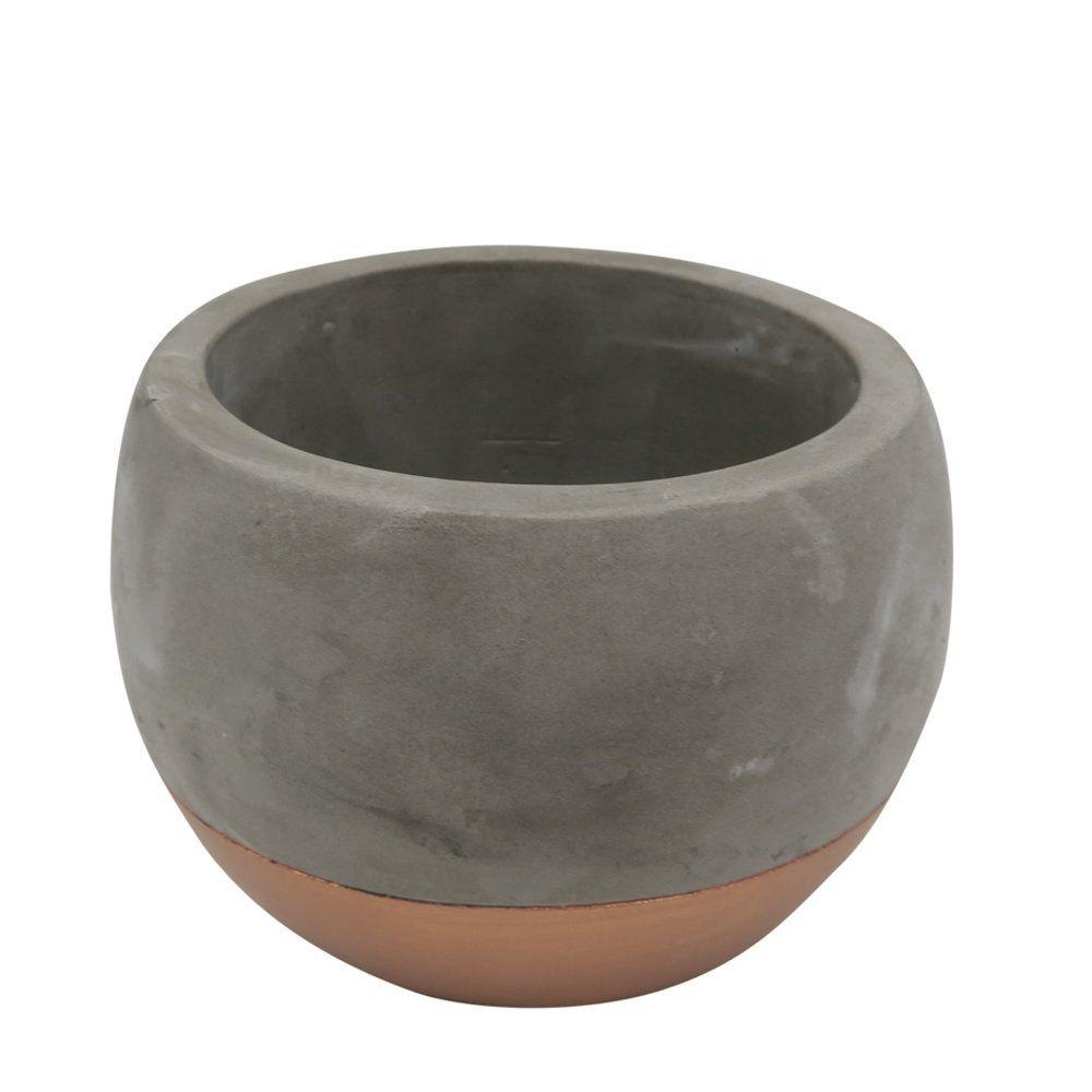 Cachepot Decorativo Cimento Cinza e Cobre 13x10CM GV0026