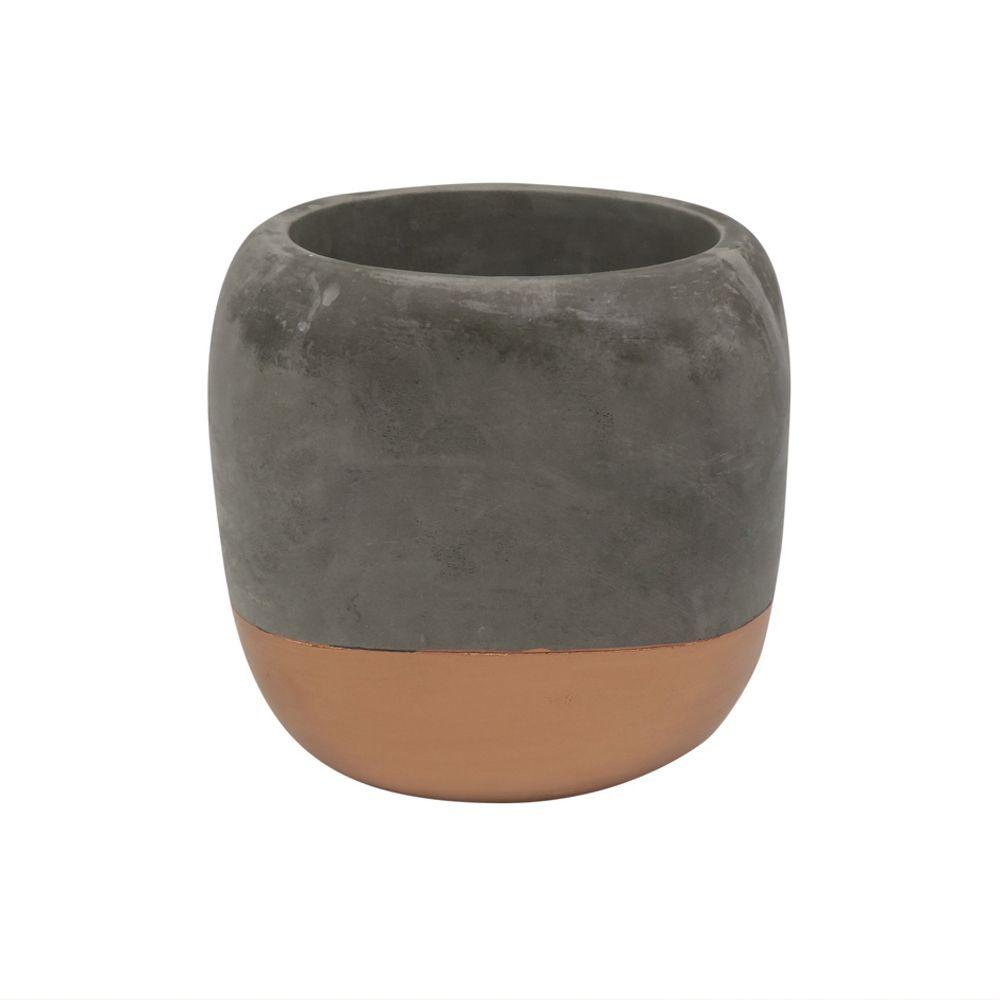 Cachepot Decorativo Cimento Cinza e Cobre 14x15CM GV0028