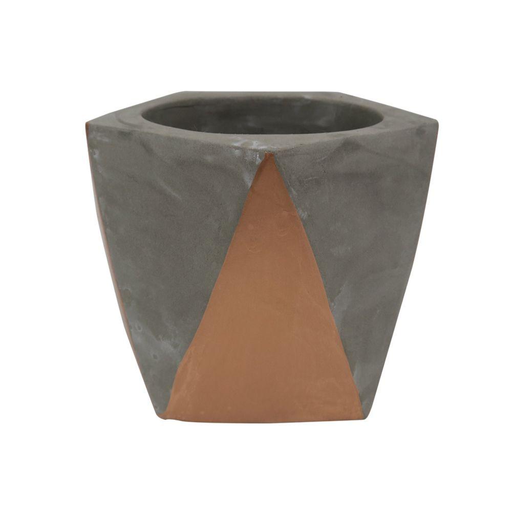Cachepot Decorativo Cimento Cinza e Cobre 8x10CM GV0036