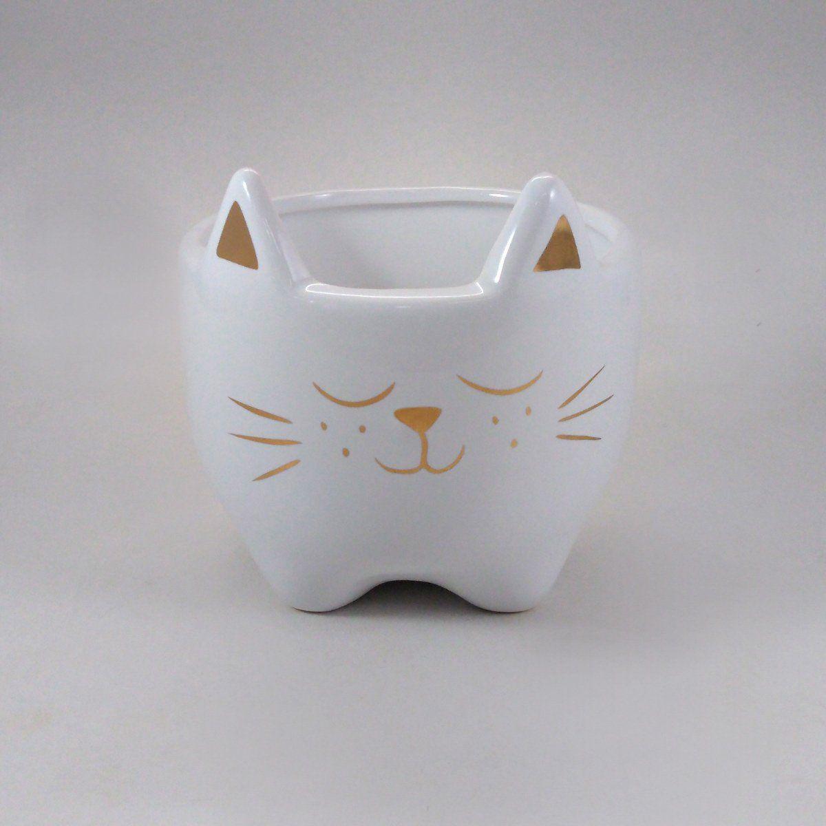 Cachepot Gato Cerâmica Decorativo Branco 13x10CM 8701