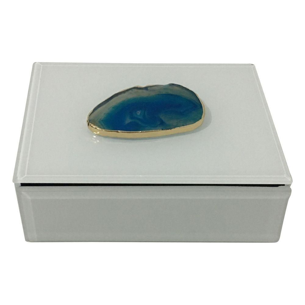 Caixa Decorativa Branca 16CM Com Pedra Agata Azul AI0007