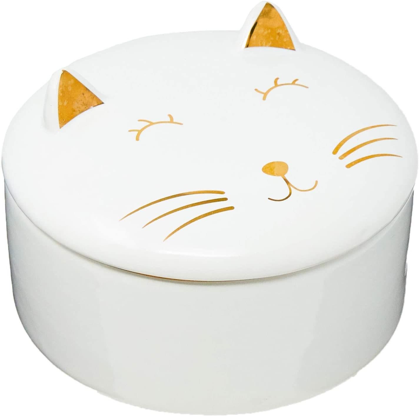 Caixa Gato Redonda Cerâmica Decorativo Branco e Dourado 10cm 09857 Mart
