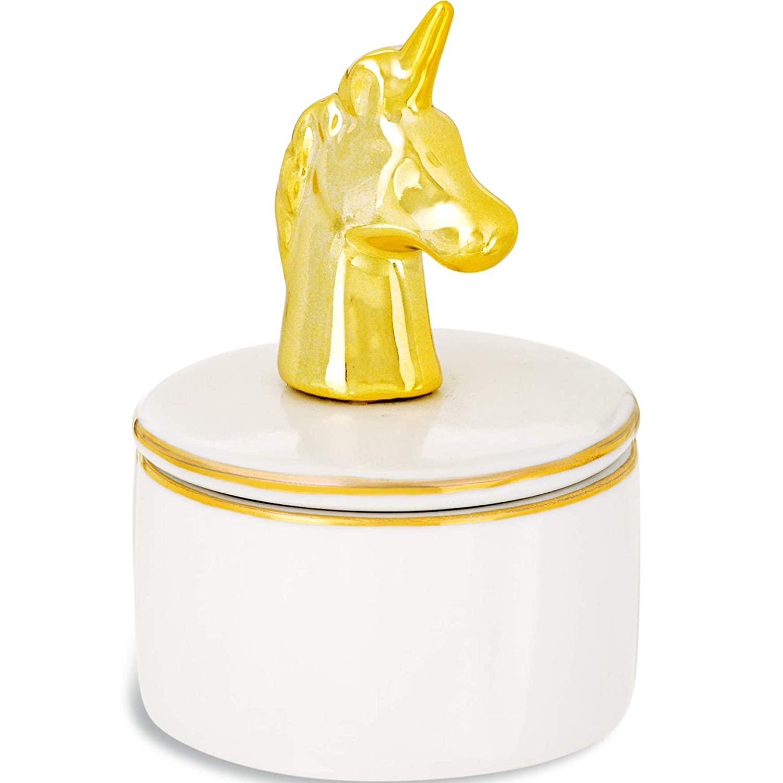 Caixa Redonda Porta Joias Unicornio Dourado 7CM 08951