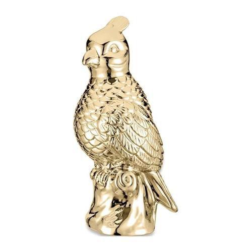 Calopsita Decorativa Cerâmica Dourada 28CM 08649 Mart
