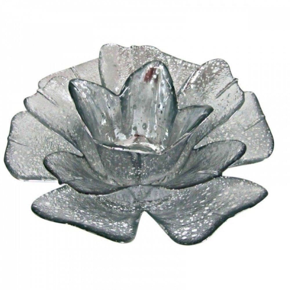 Castiçal Porta Velas De Vidro Flor Transparente Com Detalhes Prata Decorativo 17X7CM SD0131