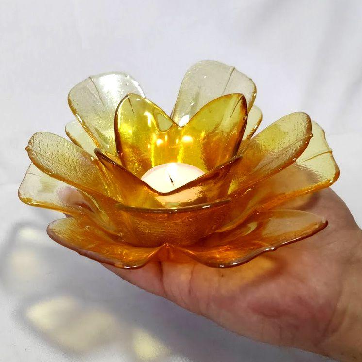 Castiçal Porta Velas De Vidro Flor Amarela Decorativa 17X7CM SD0139