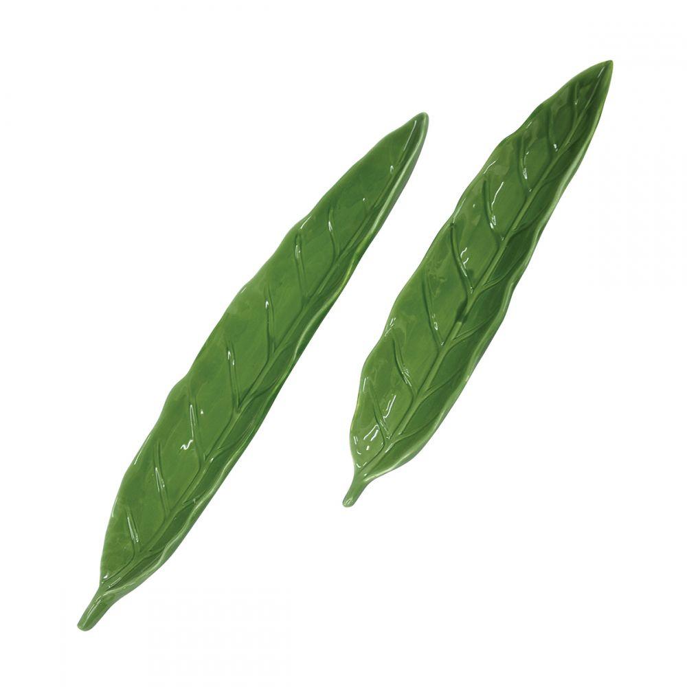 Conjunto de Pratos Cerâmica Folhas Verde 2 Peças 38CM