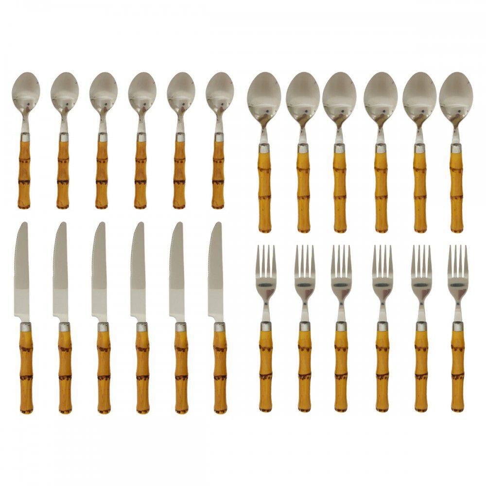 Conjunto Faqueiro 24 Peças Bambu Sg0001