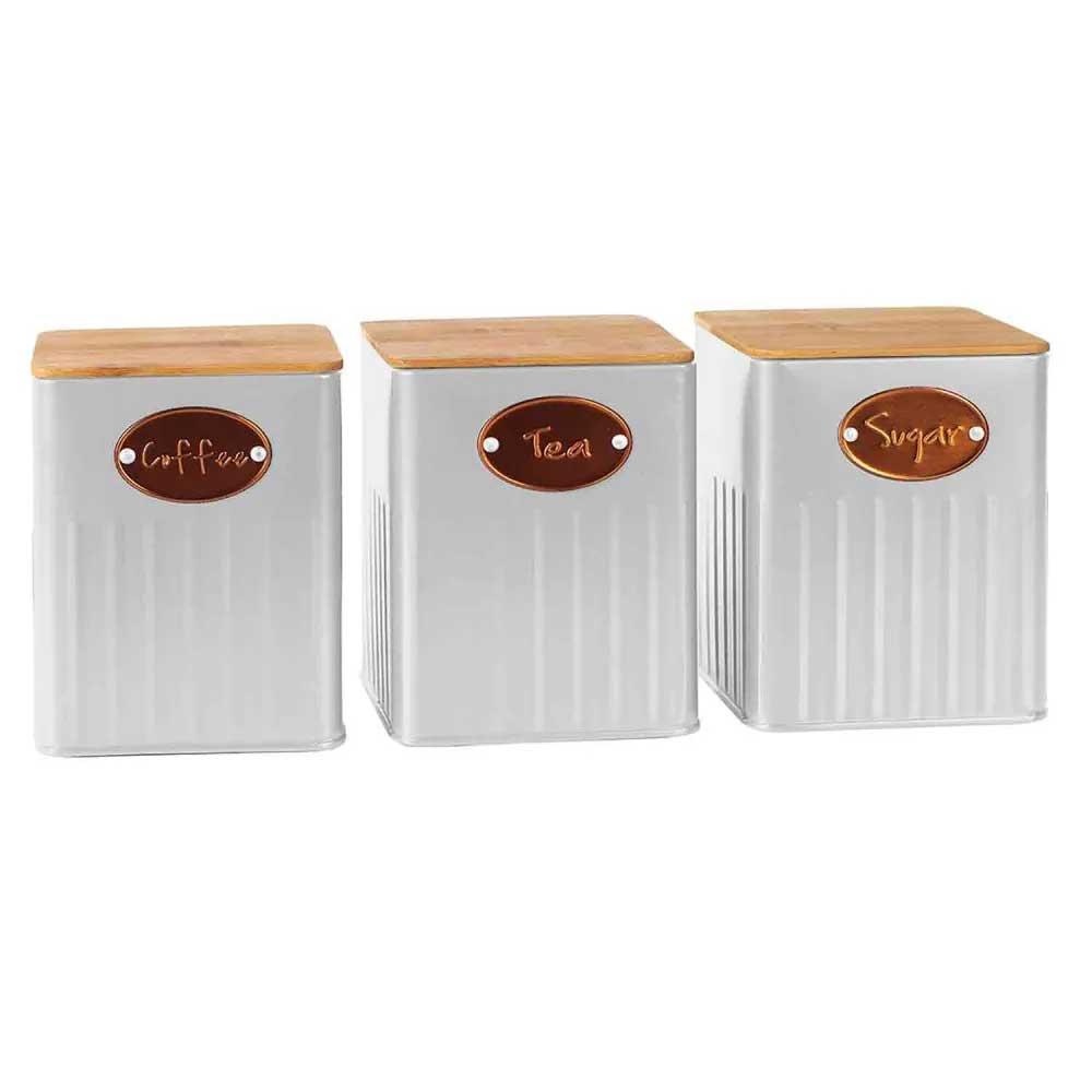 Conjunto Porta Condimentos Metal Branco com Tampa Madeira UC3005 BTC