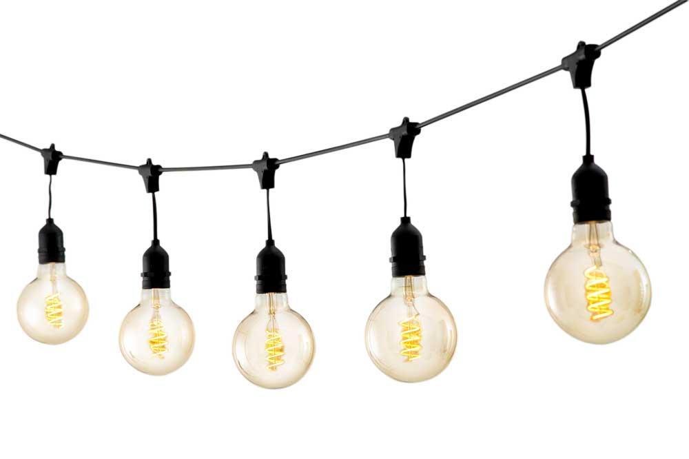 Cordão LED String Light Varal Preto 10 Lâmpadas 5M Uso Externo