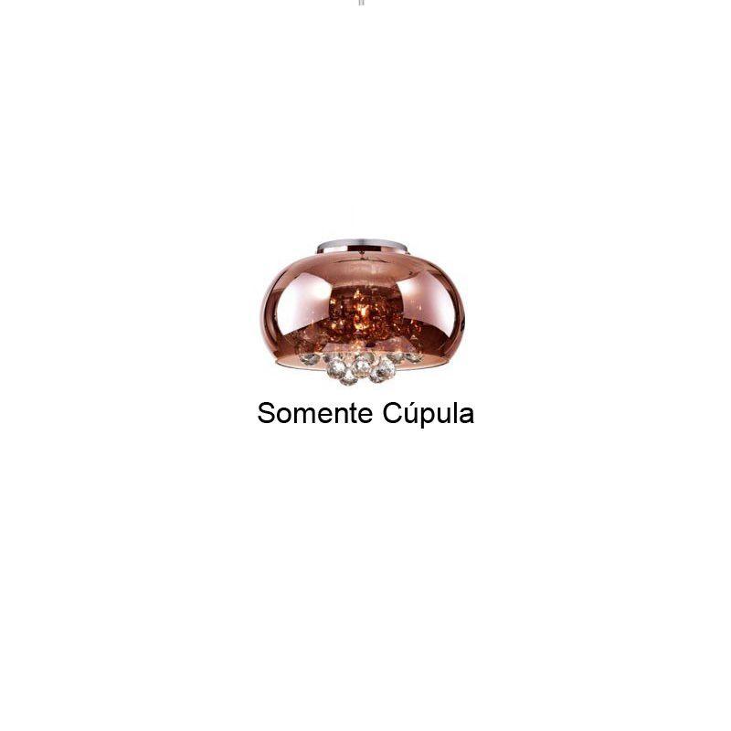 Cupula de Reposição Vidro Cobre Soho PD007CO 22CM Bella Somente A Cupula