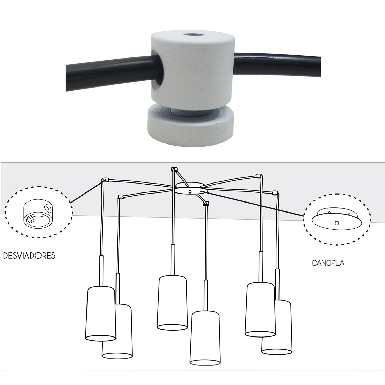 Desviador De Cabos Metal Branco Para Pendente Lustre Luminaria
