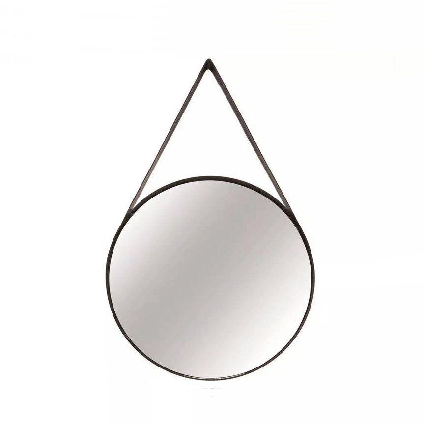 Epelho Redondo Decorativo Luxo Metal Preto 50CM 9397