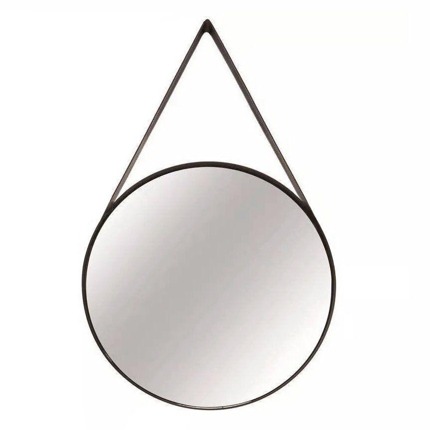 Espelho Redondo Decorativo Luxo Metal Preto 60CM 9396