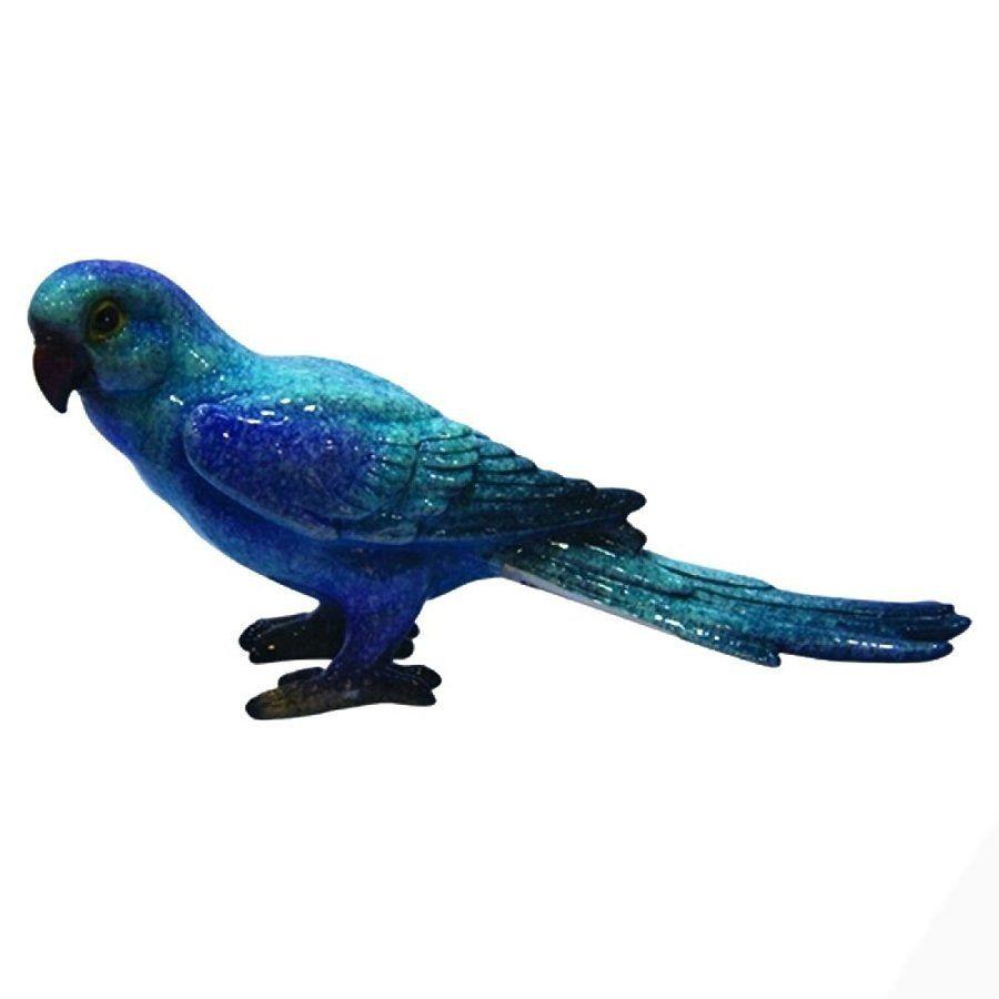 Escultura De Passaro Ceramica Azul 22cm Ky0033