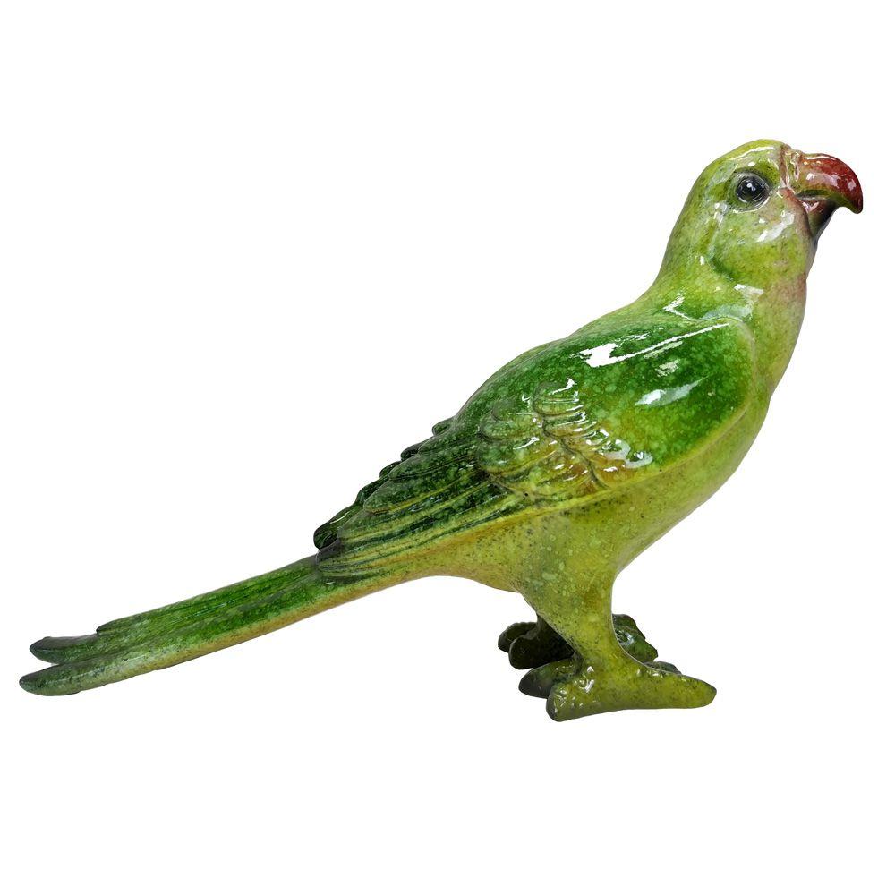 Escultura Passaro Ceramica Decorativo Verde 14x10CM KY0016