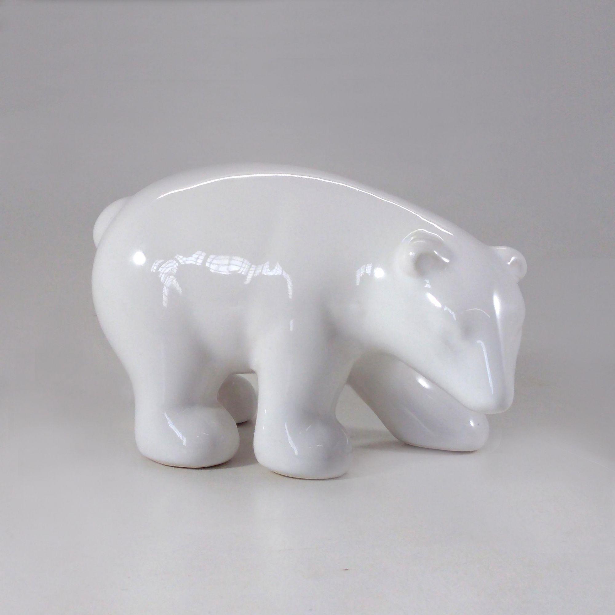 Escultura Urso Polar Decorativo Cerâmica 18X11CM 8584