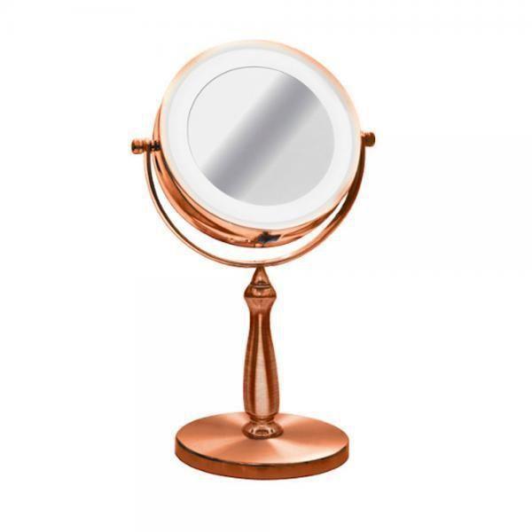 Espelho de Mesa Redondo Bronze com Luz LED 29CM