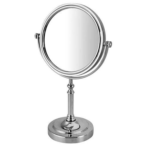 Espelho de Mesa Redondo Dupla Face Com Aumento 2x - 32CM