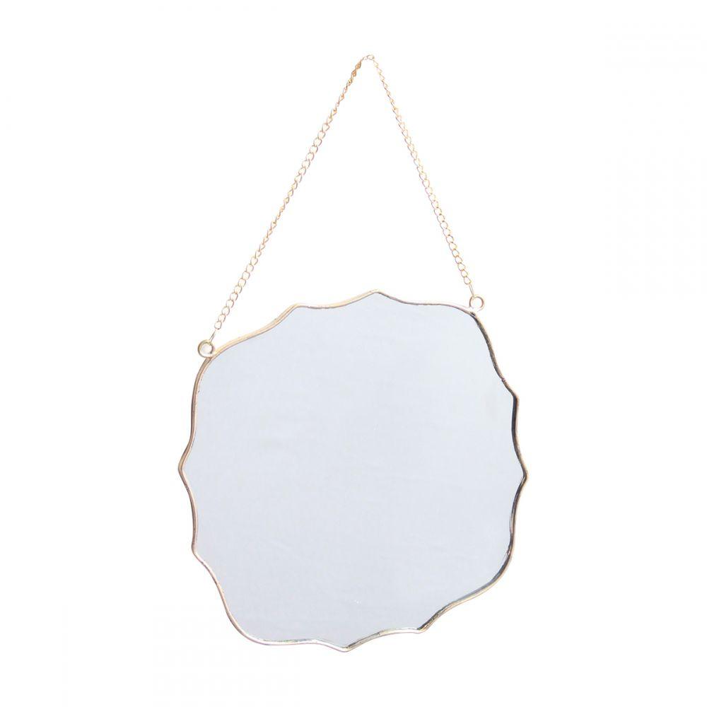 Espelho Parede Formato Decorativo Dourado 20x20cm KV0125 BTC