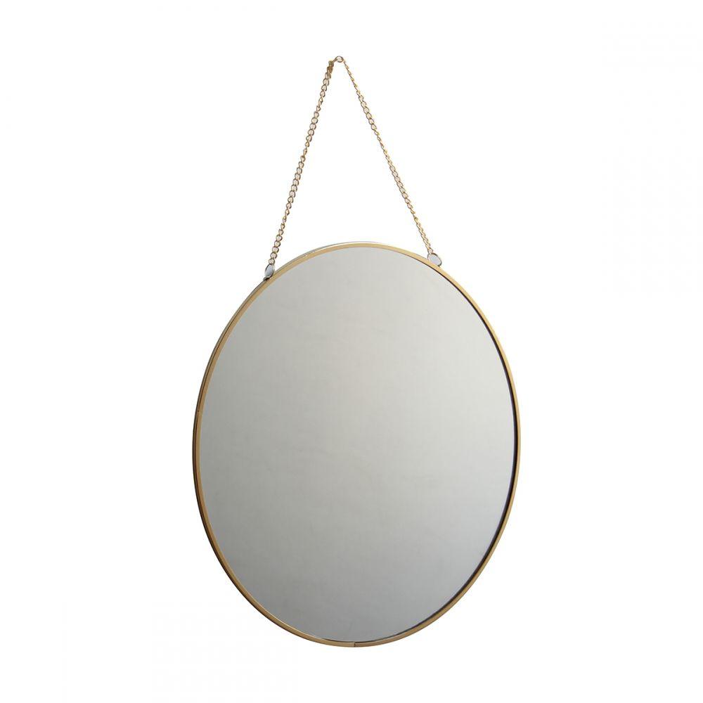 Espelho Parede Redondo Decorativo Dourado 29x2cm KV0118