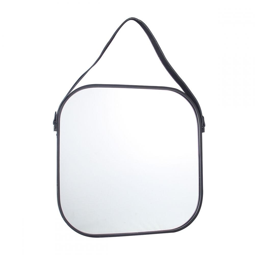 Espelho Quadrado Decorativo Preto Alça Couro 51x3CM KV0115