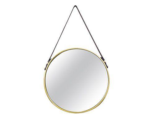 Espelho Redondo Decorativo Luxo Dourado Alça Couro 45CM 6381