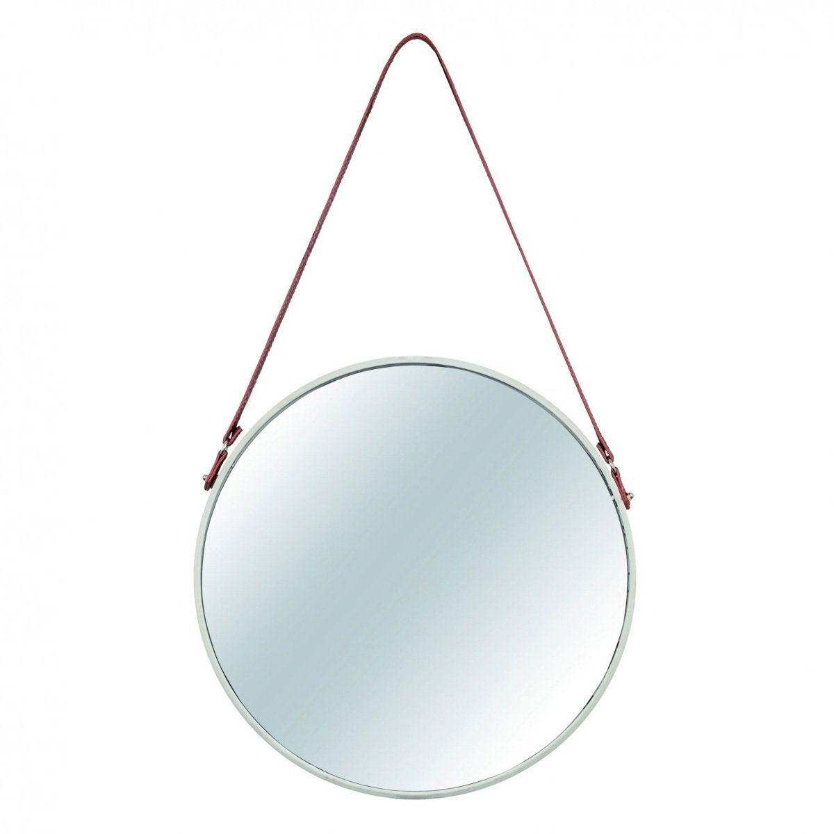 Espelho Redondo Decorativo Luxo Off White Alça Couro 40CM 7975