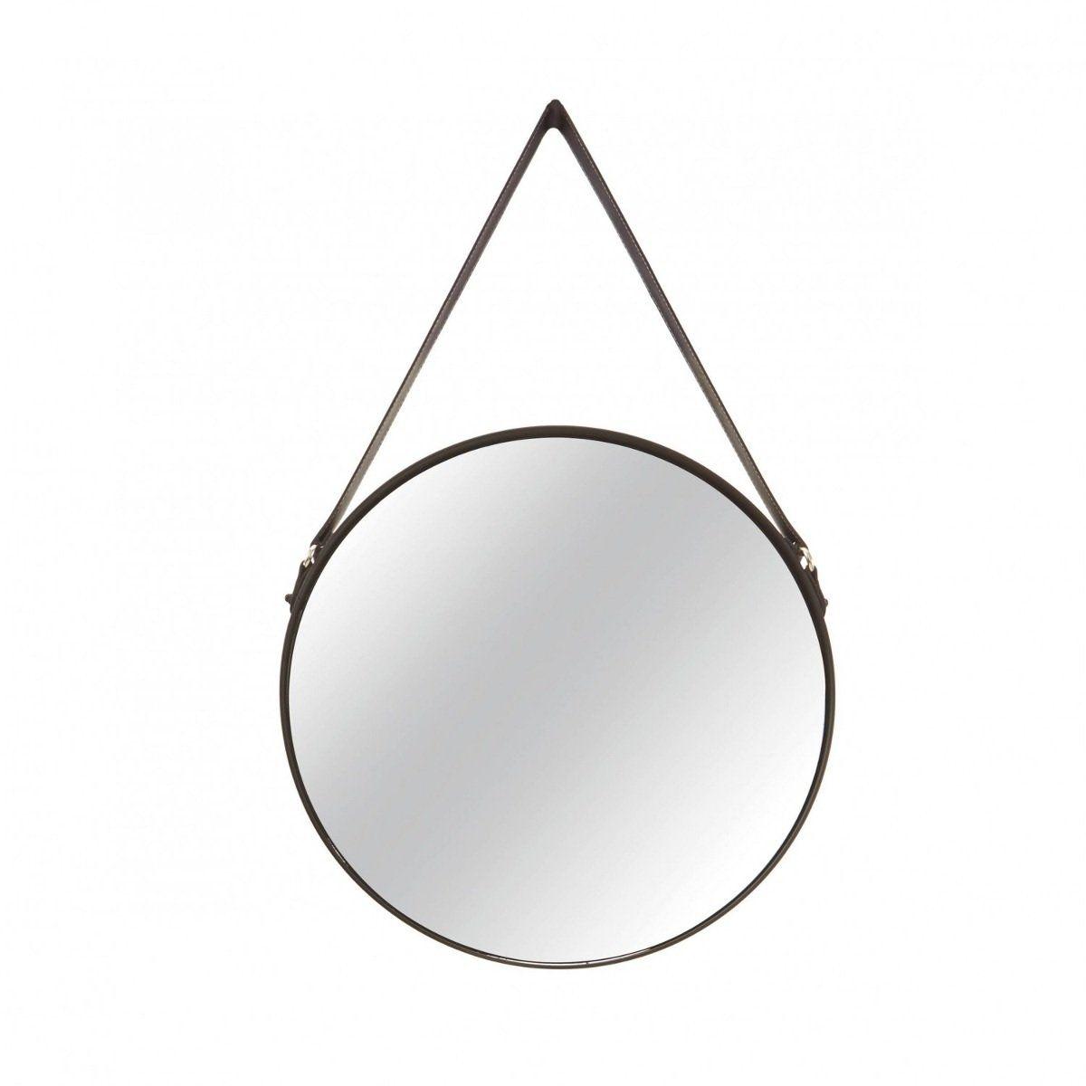 Espelho Redondo Decorativo Luxo Metal Preto 45CM 7292