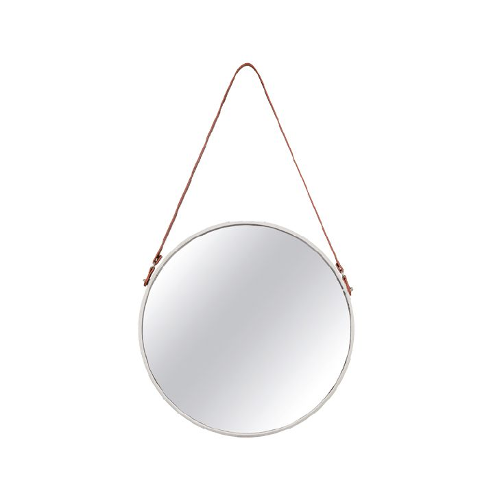 Espelho Redondo Decorativo Luxo Off White 36CM 7976 Mart Collection