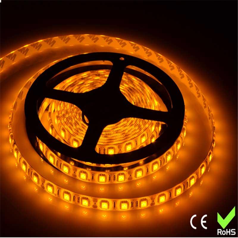 Fita De Led 12V Amarela IP65 LED5050 Rolo 5 Metros