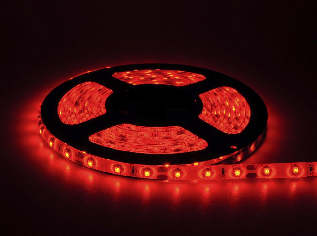 Fita De Led 12V Vermelha IP65 LED3528 Rolo 5 Metros