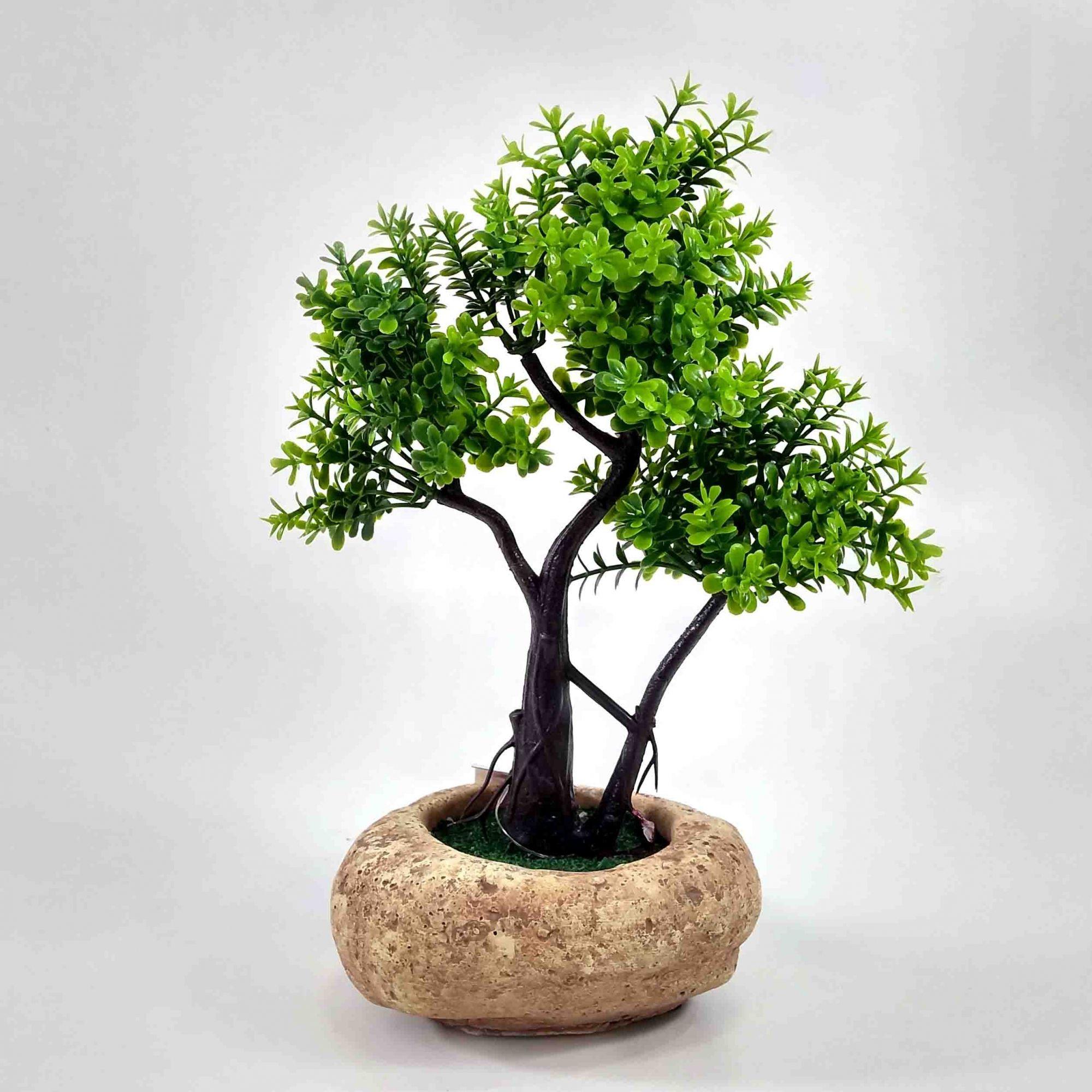 Flor Bonsai Verde C/ Vaso Cerâmica Artificial Permanente 20CM 36661-001