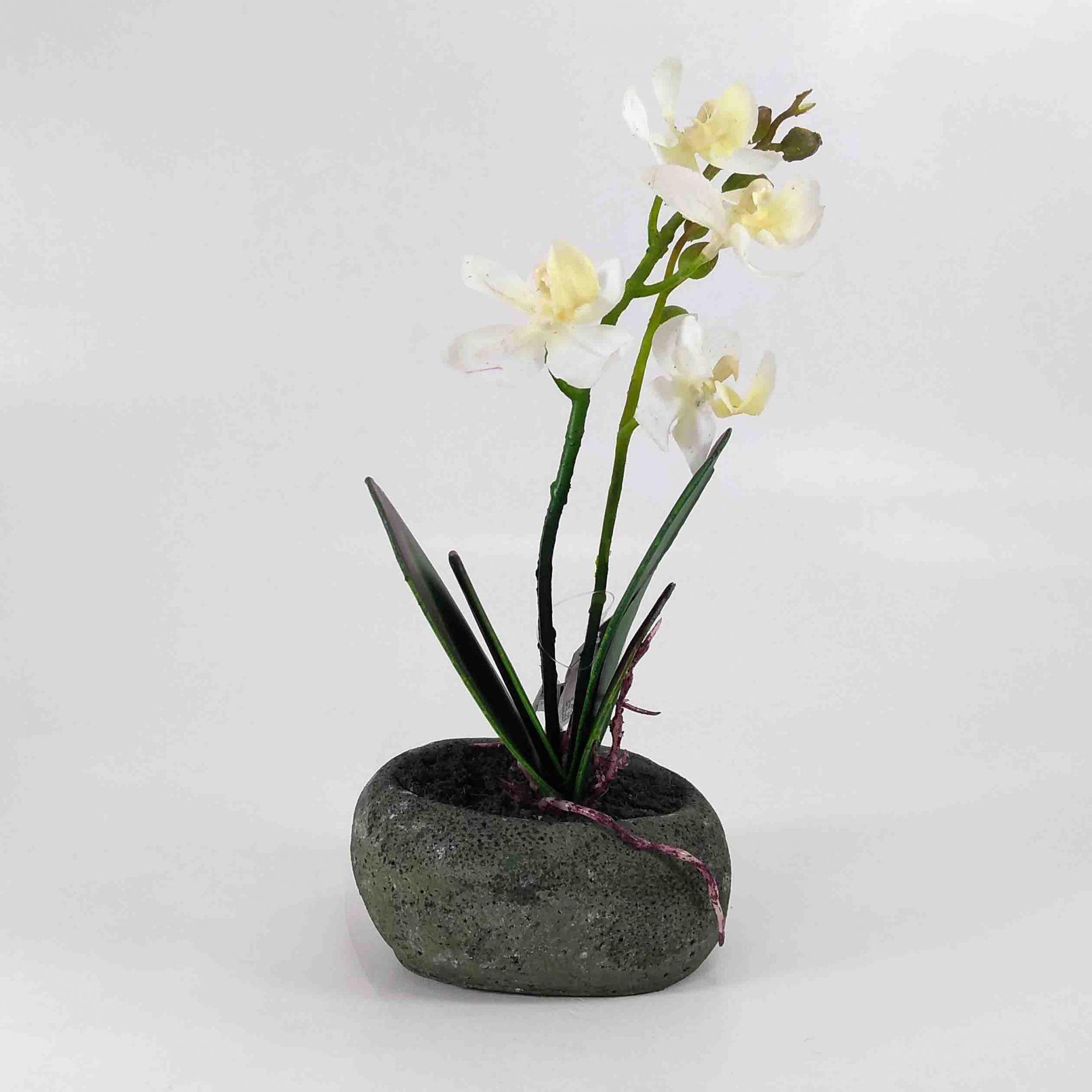 Flor Orquidea Phalaenopsis X40 C/ Vaso Cor Branca Artificial Permanente 25CM 36680-001