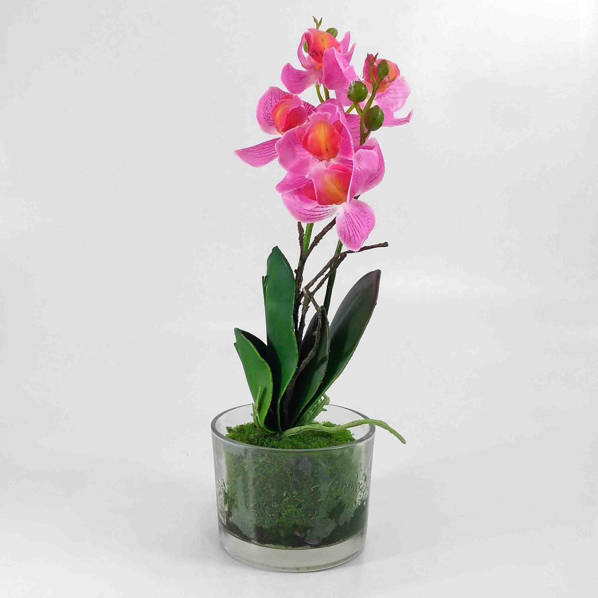 Flor Orquidea Phalaenopsis X5 Cor Rosa C/ Vaso Vidro Artificial Permanente 25CM 36679-001