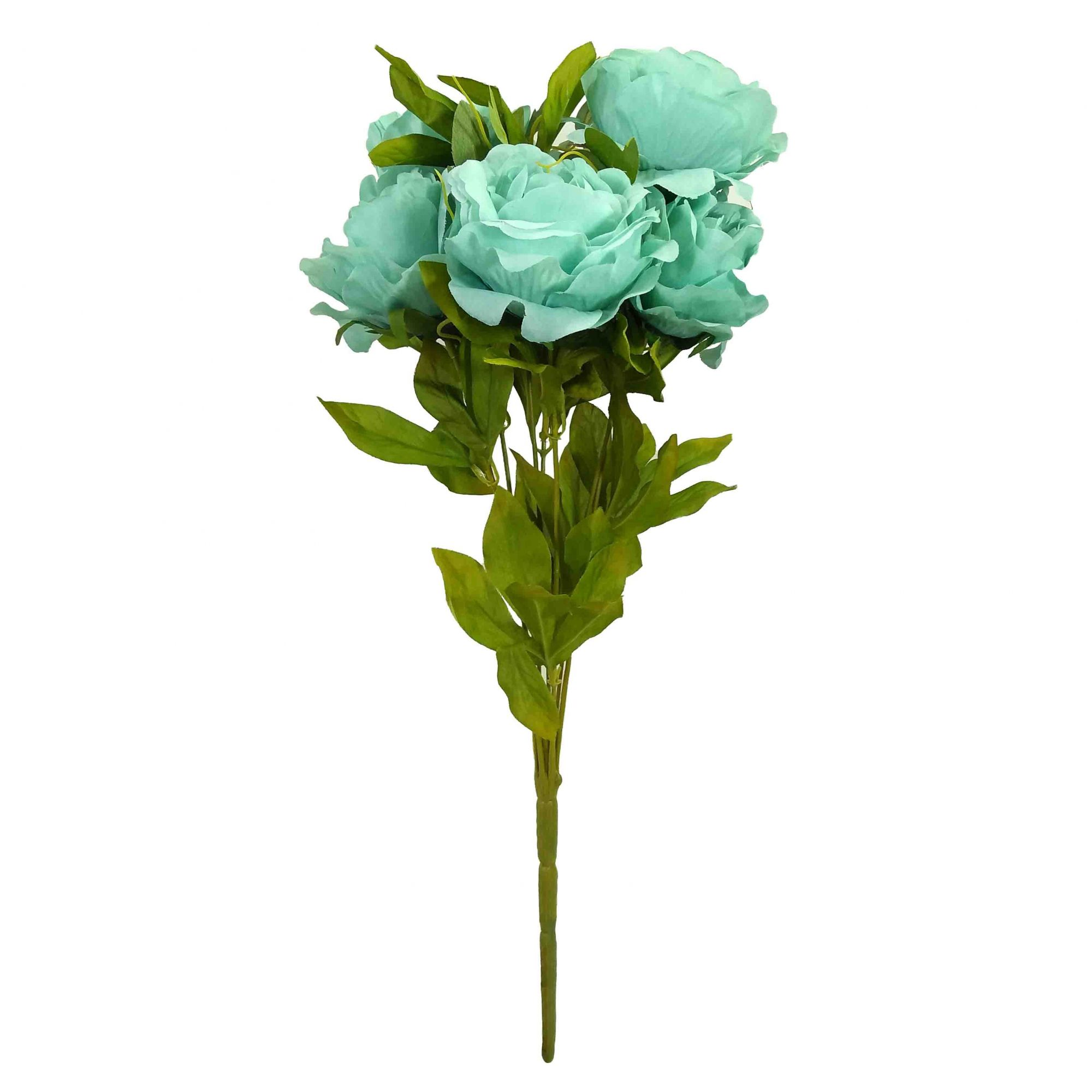 Flor Peonia Cor Azul Outono Artificial Permanente 55CM 37199-003