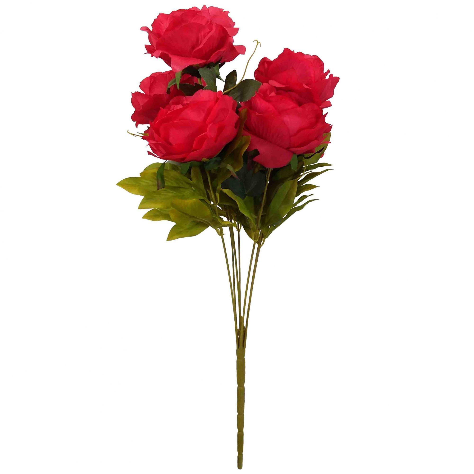 Flor Peonia Cor Vermelho Outono Artificial Permanente 55CM 37199-007