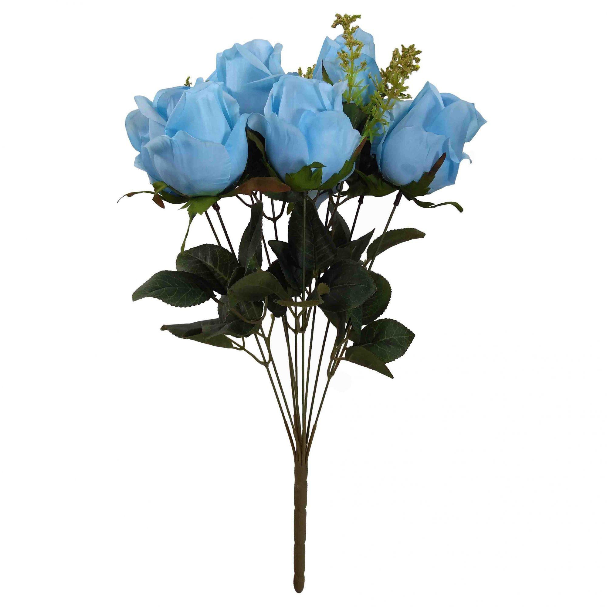 Flor Rosa Cor Azul Outono Artificial Permanente 52CM 36435-009