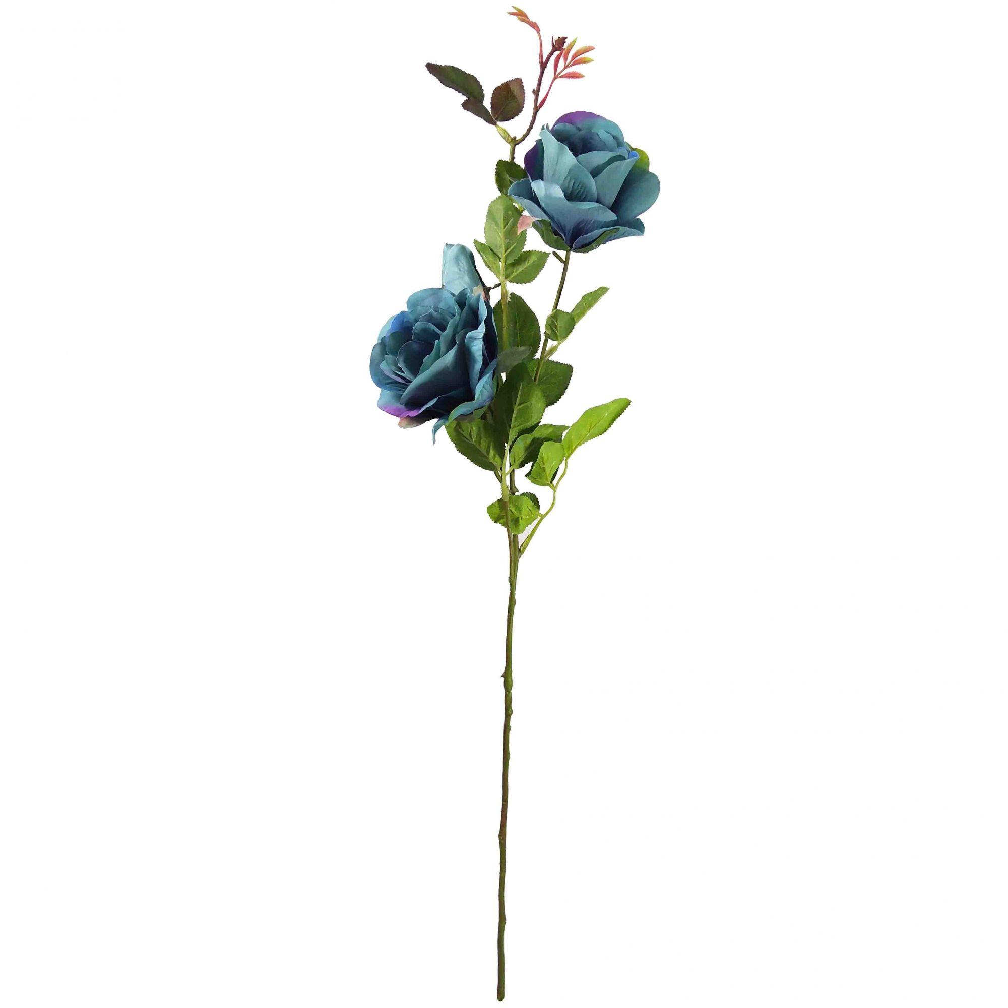 Flor Rosa Cor Azul Outono Artificial Permanente 76CM 37365-003