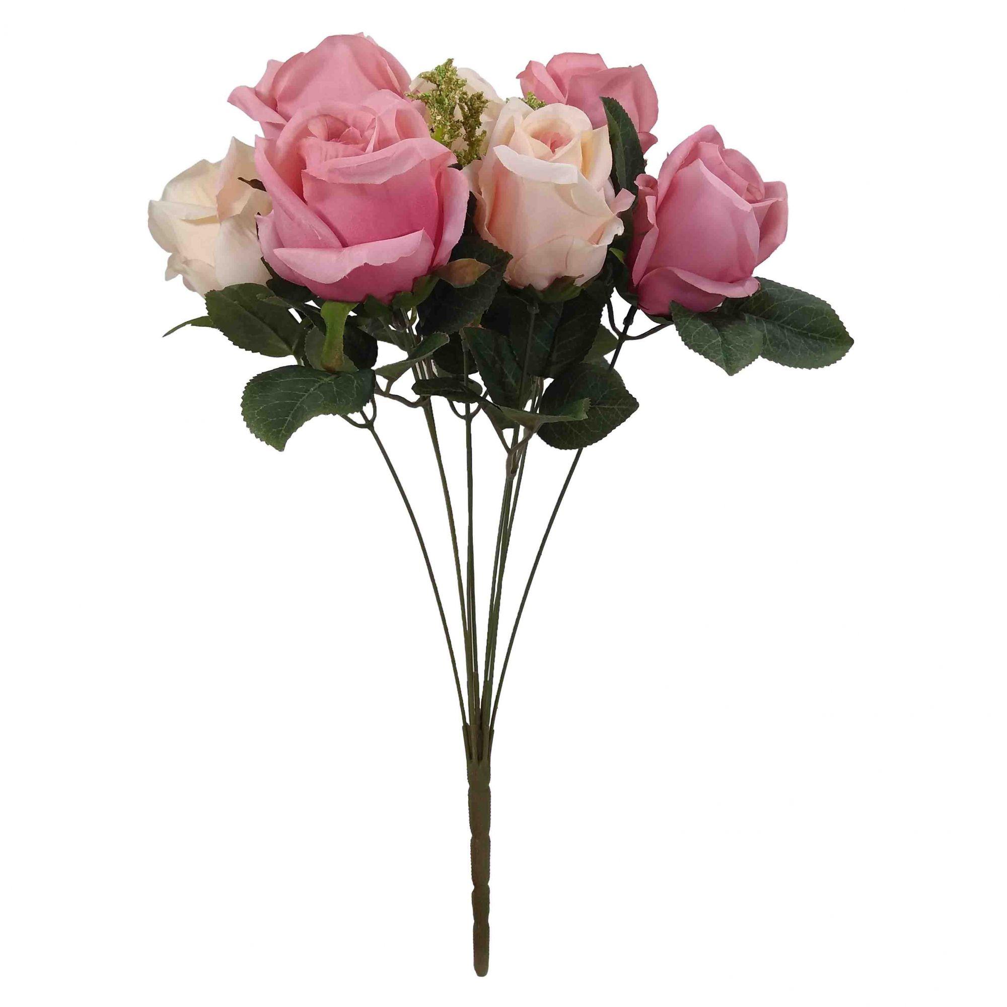 Flor Rosa Cor Rosa Outono 2 Tons Artificial Permanente 52CM 36435-010