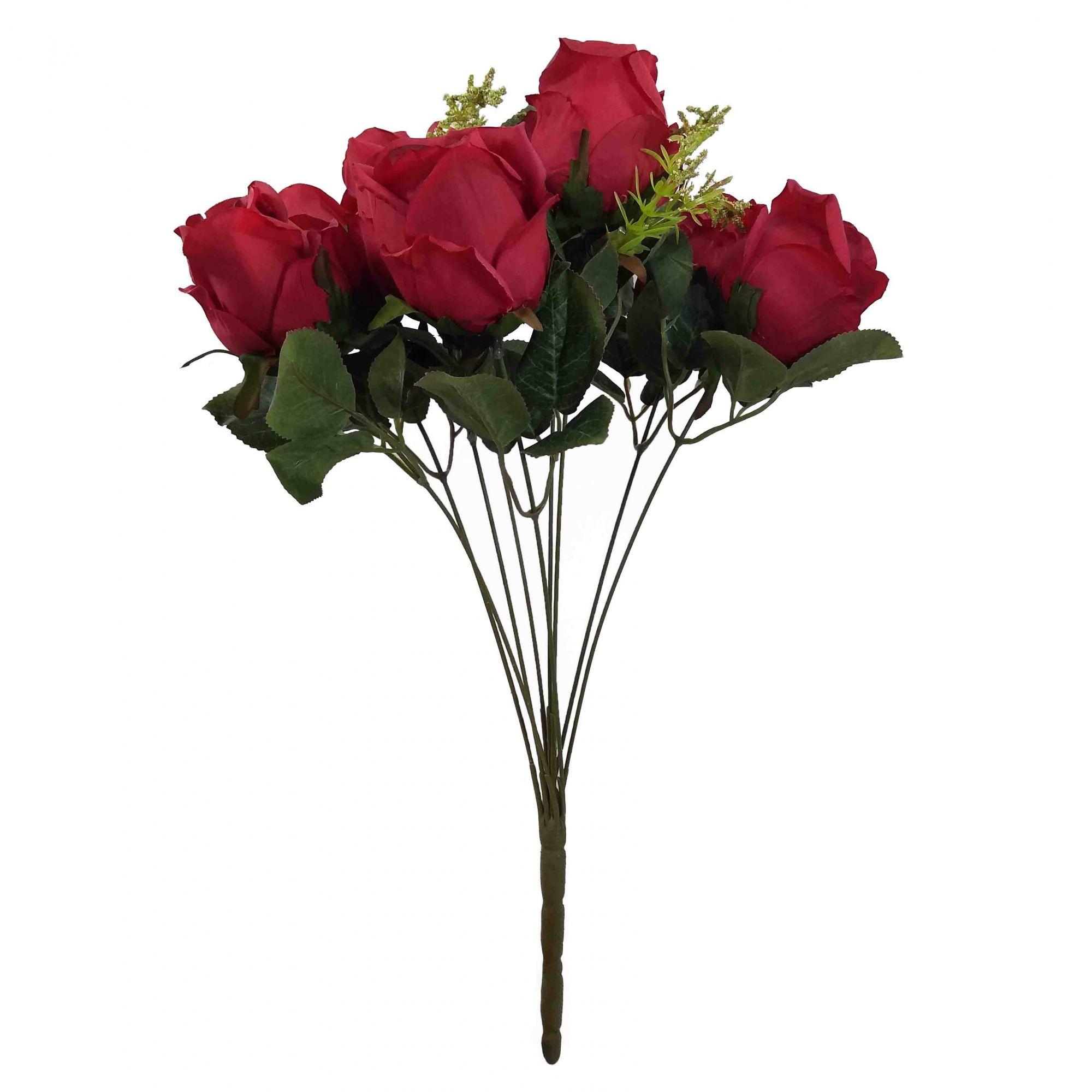Flor Rosa Cor Vermelho Outono Artificial Permanente 52CM 36435-005