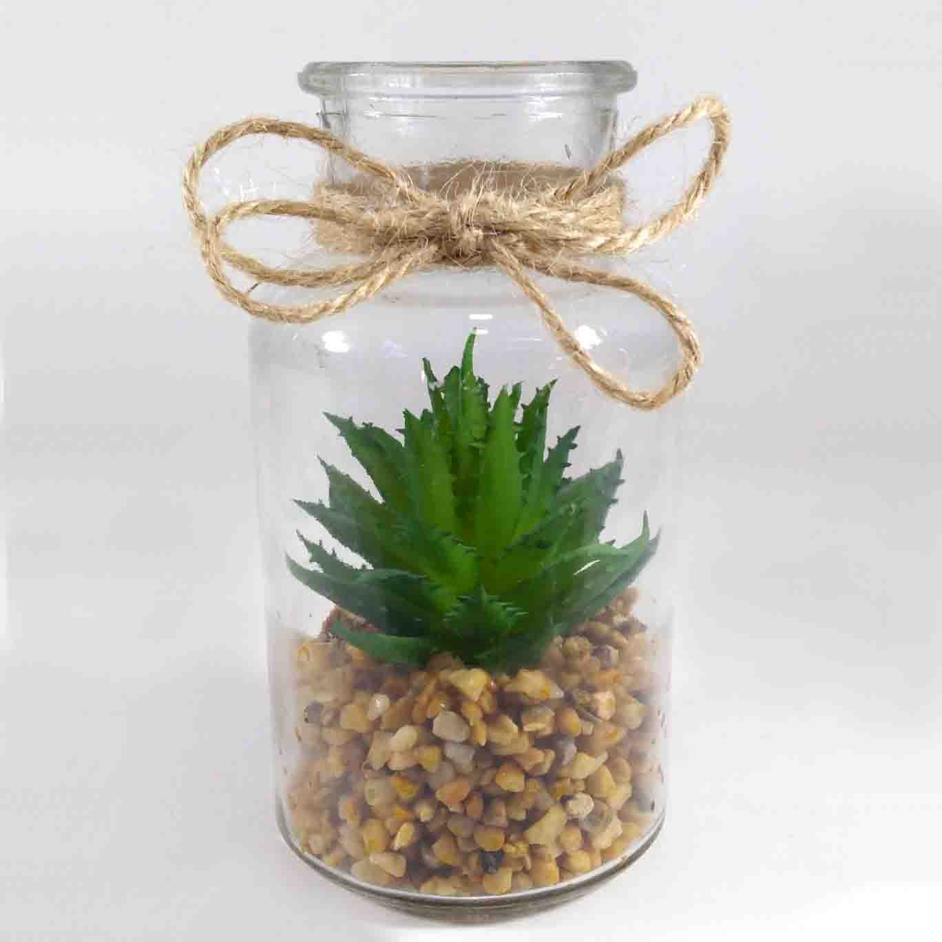 Flor Suculenta C/ Vaso Vidro P/ Pendurar Cor Verde Artificial Permanente 12CM 37200-01