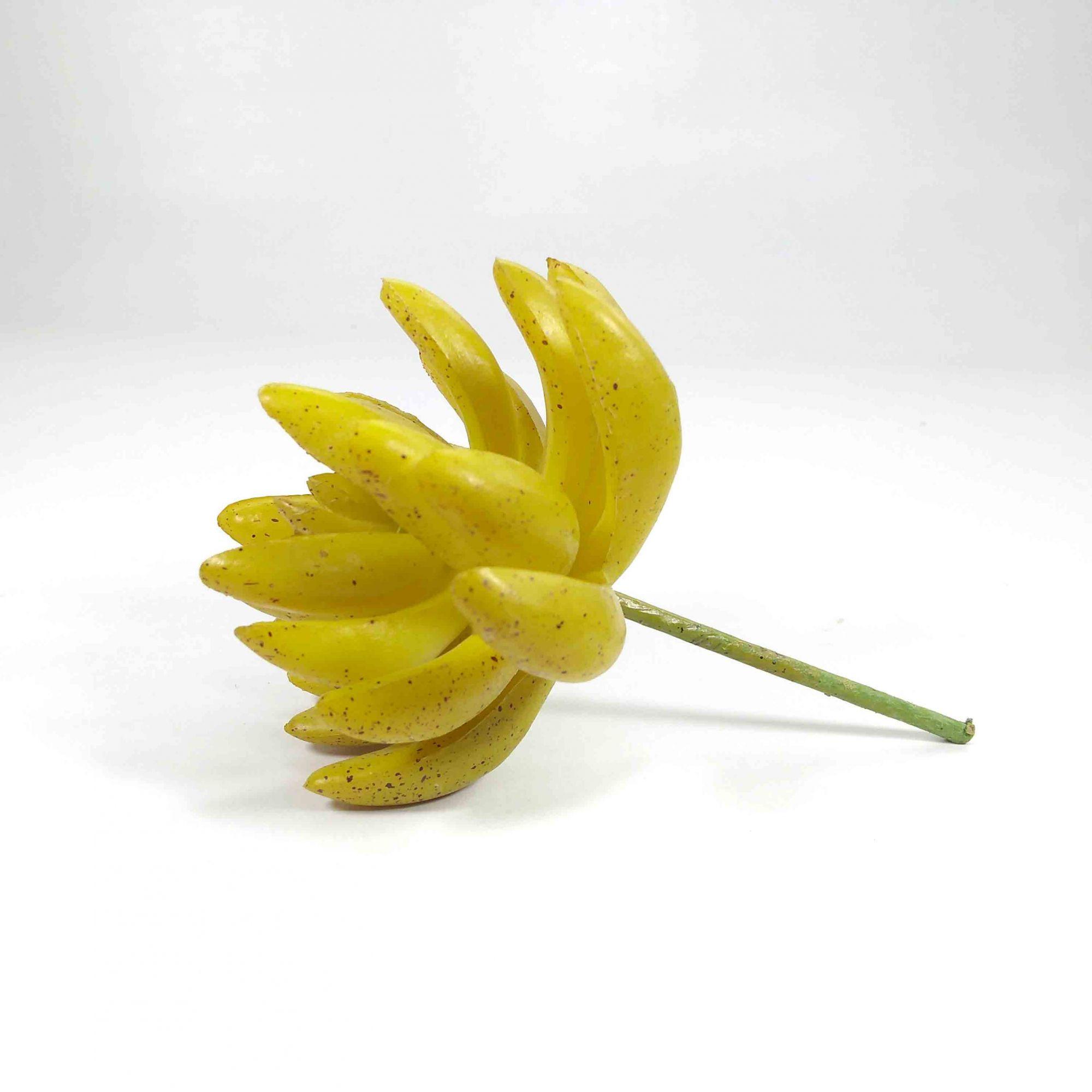 Flor Suculenta Cor Amarelo Artificial Permanente 12CM 32067-003